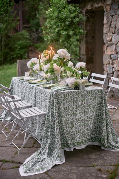 green hydrangeas & white ranunculus wedding image