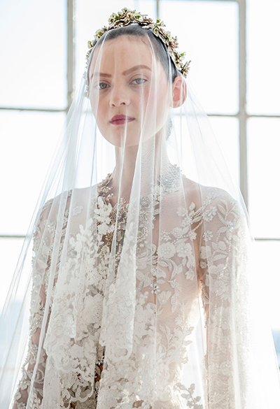 Veils are back. Long or short, trimmed in lace or plain and held in place by a Victorian tiara.