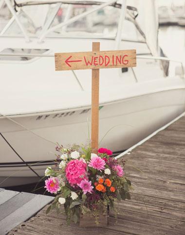 Wedding sign on dock